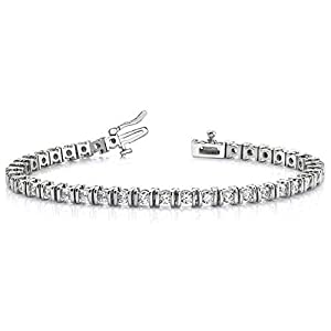 Platinum Diamond Round Brilliant Channel Set Tennis Bracelet (3.9ctw.) - Size 7.25