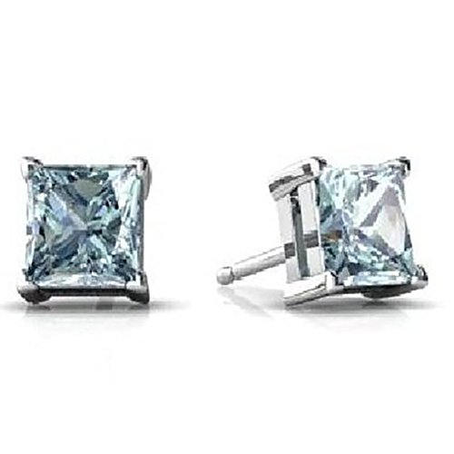 - Stud Post Earring Princess Cut Simulated Blue Aquamarine 925 Sterling Silver