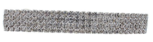 (Violet & Virtue Women's Quadruple Row Clear Rhinestone Barrette Hair Clip Dressy Sparkly Up Do, One Size)