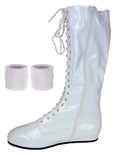 (White, Small) Pro Wrestling Costume Boots with Matching Sweatbands