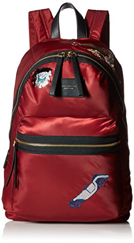 Marc Jacobs Women's Vintage Collage Nylon Biker Backpack, Dark Cherry