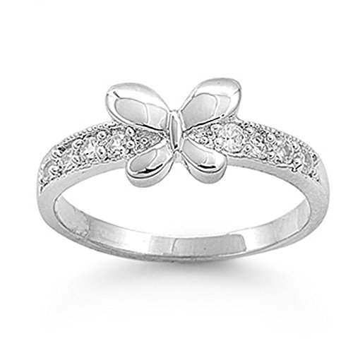 Double Accent Sterling Silver High Polished Butterfly CZ Setting Band Ring 6MM (Size 1 to 9), 5