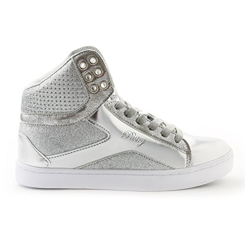 (Pastry Adult Pop Tart Glitter Dance Sneaker, Silver, Size 11)