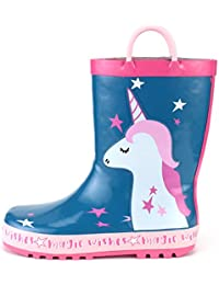 Kids Girl Rain Boots, Waterproof Rubber Printed with Handles in Various Prints and Different Sizes