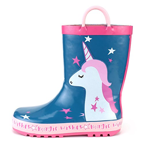 KomForme Kids Girl Rain Boots, Waterproof Rubber Printed with Handles in Various Prints and Different Sizes by KomForme (Image #1)
