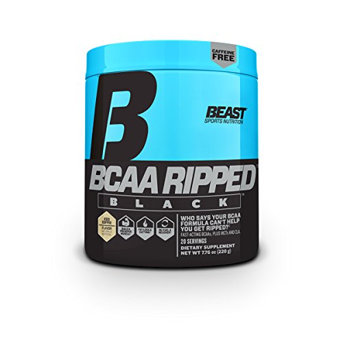 Beast Sports Nutrition BCAA Ripped Black, Iced Coffee, 220 Gram, 20 Servings