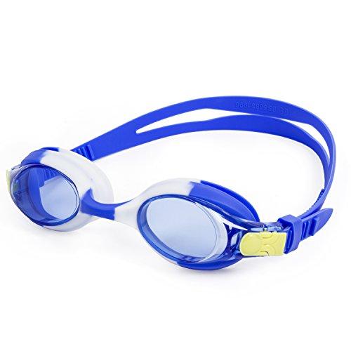 SUNVP Anti-Fog Swim Goggle for Kids and Early Teens-Blue (Aqua Contact Lenses)