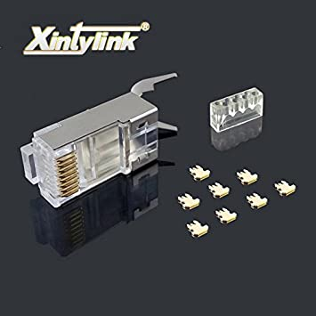 Color: 10 pcs Cenos rj45 connector ethernet cable plug cat7 cat6a male network gold plated 8P8C metal shielded stp 8pin load bar 1.3mm 50u