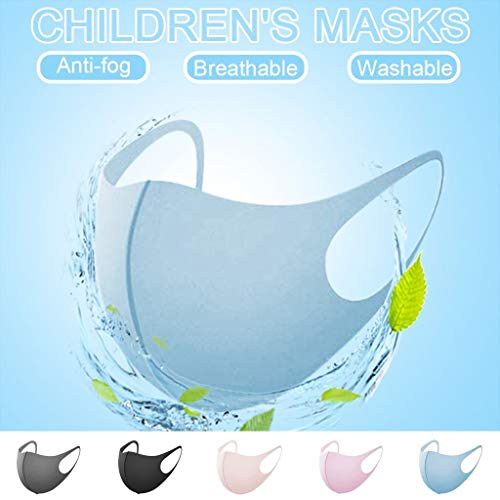 Famlhewo 5PCS Fashion Protective Solid Color Kids Anti-pollution Anti-dust Face Scarf Reusable for Girls and Boy (Multicolor)