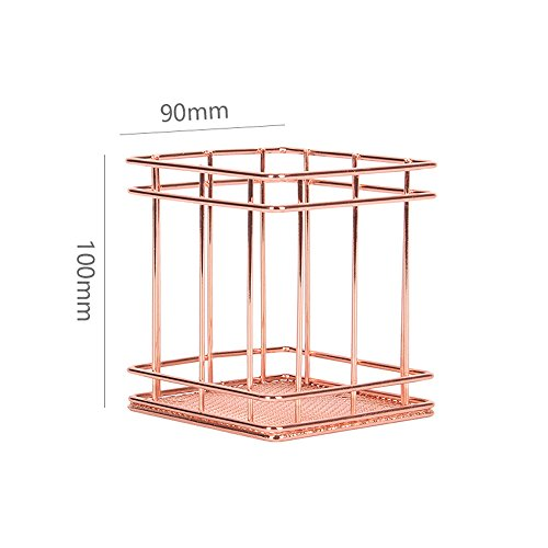 3.5' Rose (Rose Gold Iron Storage Basket by Freelove, Stainless Steel Wire, for Desktop Organizer, Clothing Storage, Fruit Snacks Tray, Kitchen Tool Holders (Pen Holder 3.5'' by 3.5'' by 4''))