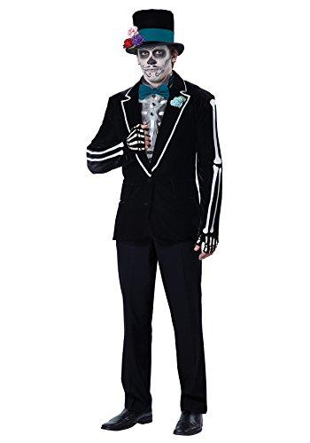 California Costumes Men's El Novio Muerto, Black/Turquoise, Medium (Mens Day Of The Dead Costume)