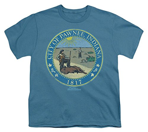 Youth: Parks & Rec-Distressed Pawnee Seal Kids T-Shirt Size YS