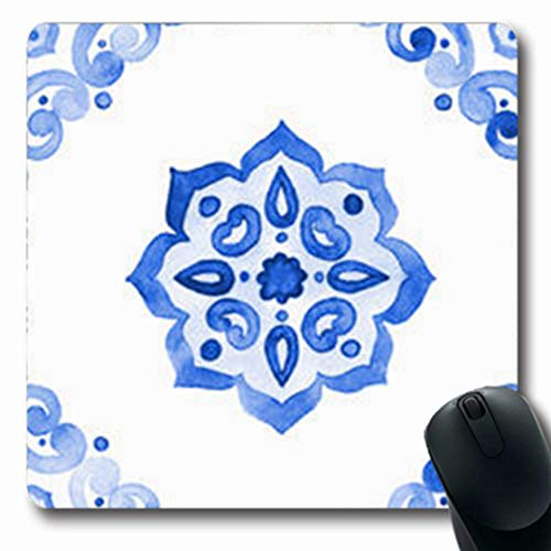 ArtsDecor Mousepads Netherlands Delft Blue Style Watercolor Tile Amsterdam Vintage Filigree Cobalt Tableware Dutch Oblong Shape 7.9 x 9.5 Inches Oblong Gaming Mouse Pad Non-Slip Mouse Mat