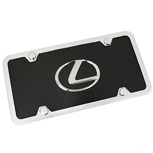 (Lexus Chrome Logo On Black License Plate + Frame)