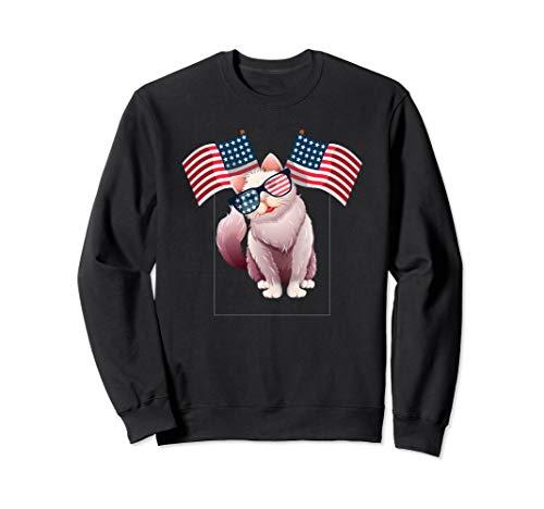 Men's Patriotic Kitten Adult Cat Lover Sweatshirt
