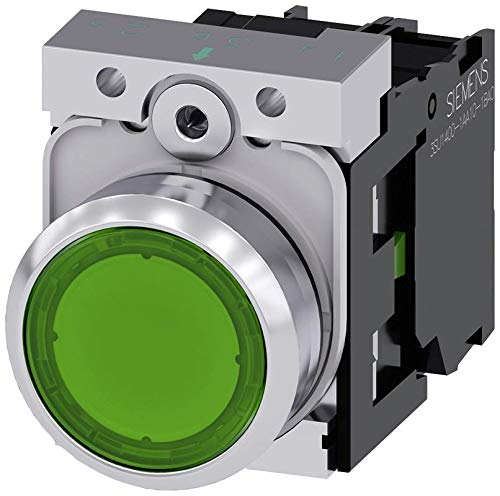 Siemens 3SU11530AB401BA0 Illuminated Pushbutton, Plastic & Metal, IP66, IP67, IP69K Protection Rating, Shiny Metal, 22mm, Green