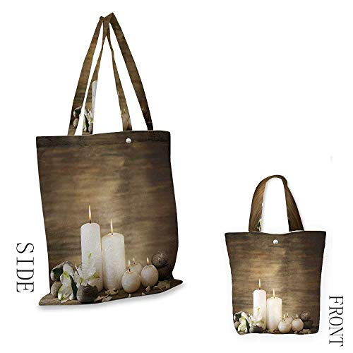 Price comparison product image 2019 Shopping Bags Reusable Spa Composition of Pure Candles Wooden Background with Stones and Flower Petals Print Shop Bag for Carrying GroceriesBrown and White