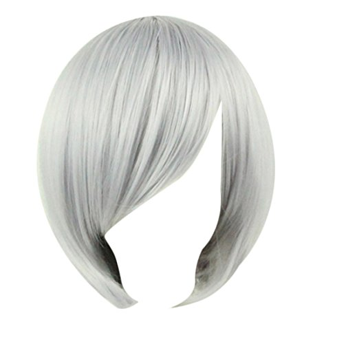 Short Wig,Hemlock Women Girl Cosplay Party Straight Wig Hair (Grey)