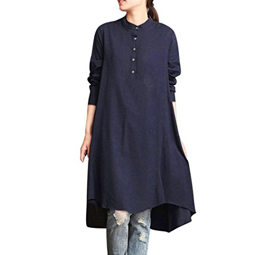 (iDWZA Women Kaftan Cotton Linen Long Sleeve Loose Solid Blouse Top Shirt Baggy Pullover (Navy, L))