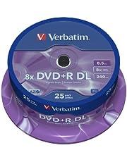 Verbatim DVD + R Double Layer 8,5 GB - 8x brandsnelheid, AZO-technologie, krasbescherming, 25 Pack Spindle