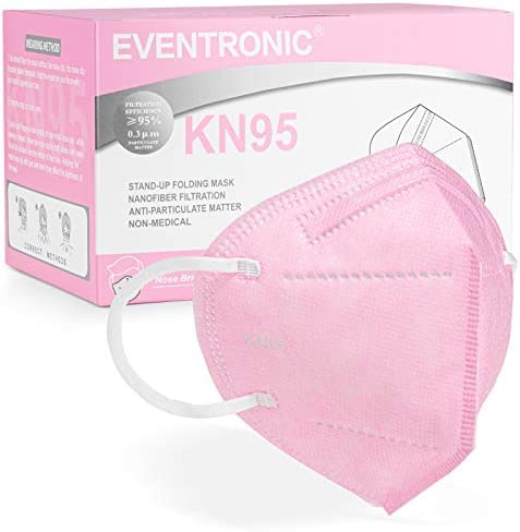 KN95 Face Mask 50 Pack, Eventronic 5-Layer Breathable Cup Dust Mask with Elastic Earloop and Nose Bridge Clip, Air Pollution, Pink