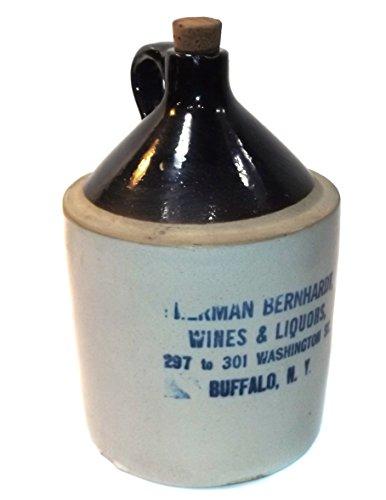 Stoneware Crock Jug - Antique Victorian Herman Bernhardt Stoneware Whiskey Jug Crock - Buffalo, NY