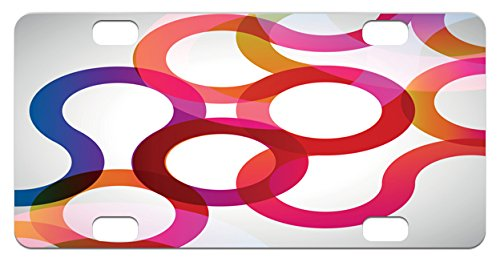 Vivid Curves (Abstract Mini License Plate by Lunarable, Composition with Curves Vivid Colorful Twisted Forms Overlaps Modern Art Elements, High Gloss Aluminum Novelty Plate, 2.94 L x 5.88 W Inches, Multicolor)