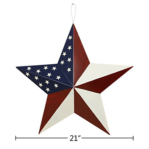 Y&K Decor Patriotic Old Glory American Flag Barn Star Rustic Metal Dimensional 3D Star 4th of July Wall Decor (21'') by YK Decor (Image #5)