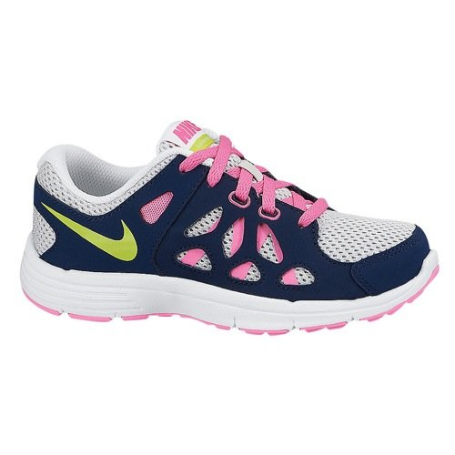 Price comparison product image Nike Kids Fusion Run 2 599794006 Navy/Pink/Grey/Lime Girls Running Shoes (PS2=Eu33.5, Navy/Pink/Green/Grey)