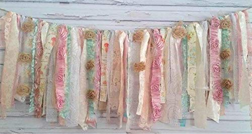 Grandma's Garden Shabby Chic Rag Tie Garland : ~ Photo Shoot ~ Vintage ~ Wedding Decor ~ Nursery ~ Bridal Shower ~ Gender Reveal ~ Decorations ~ Photo Props ~ Banner ~ Wall Decor! (4 FEET WIDE)