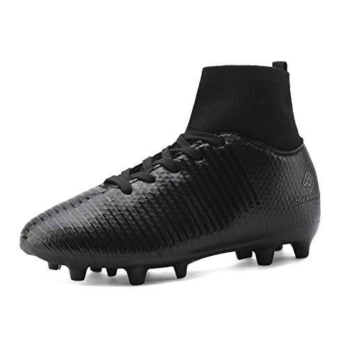 DREAM PAIRS Boys Girls HZ19004K All Black Soccer Football Cleats Shoes Size 10 M US Toddler
