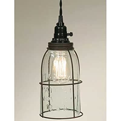 Rustic Half Gallon Caged Mason Jar Open Bottom Industrial Pendant Light Lamp Gr