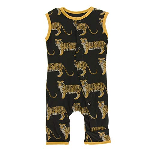 Kickee Pants Little Boys Print Tank Romper- Zebra Tiger, 12-18 Months