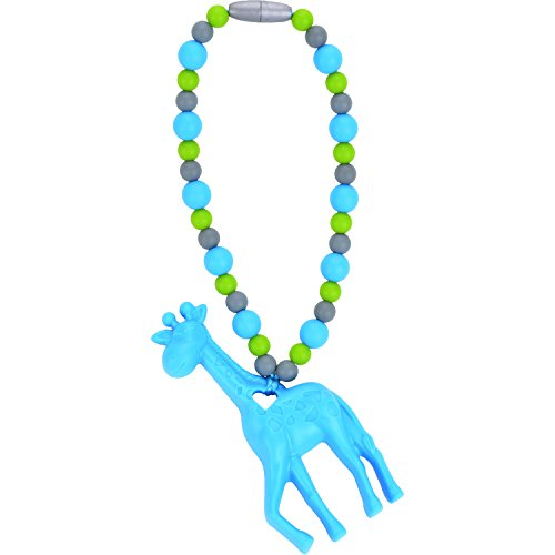 Nummy Beads Blue Giraffe Teether Toy Attaches To Baby Carrier, Car Seat, High Chair, Stroller or Diaper Bag