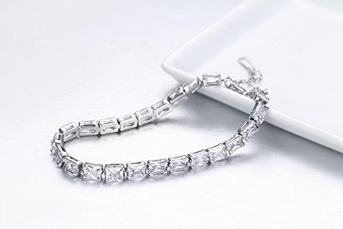 ITALINA Bracelet Femmes/Filles plaqué or blanc Cristal Swarovski Elements 18cm