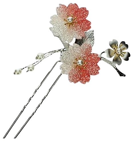 POJ Traditional Japanese Hairpin Accessories (Kanzashi) [ Color Pink / Blue / Red ] Cosplay (Red)