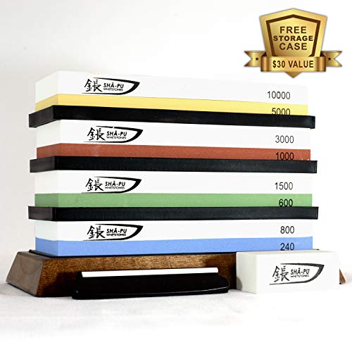 (Whetstone Knife Sharpening 4 Stone Set - Shā-pu is a Premium Sharpening set with 2 Side Grits each of 240/800, 600/1500, 1000/3000 & 5000/10000 | Includes Bamboo Base, Flattening Stone and Angle Guide)
