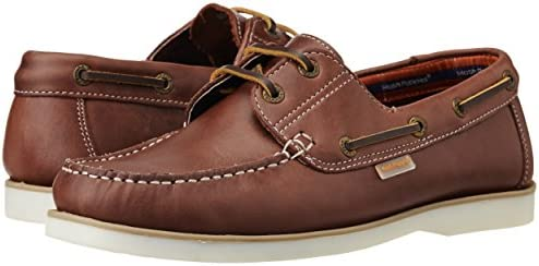 f2c052b2352 Hush Puppies Men's Boat -Lace Up Maroon Brown Leather Boat Shoes - 7 ...
