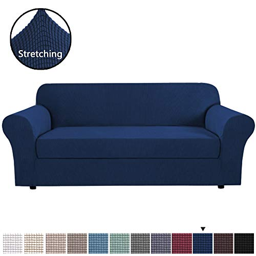 H.VERSAILTEX High Stretch Jacquard 2 Pieces Sofa Cover Couch Cover Furniture Sofa Slip Covers for Living Room, Polyester Spandex Jacquard Fabric Small Checks (Sofa Large Size, Navy Blue)