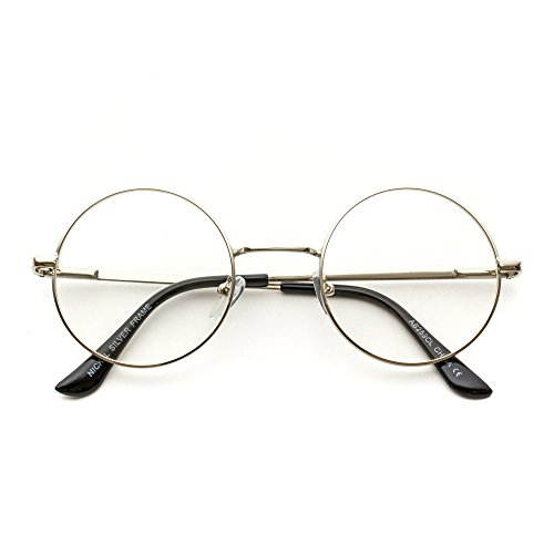 Round Clear Metal Frame Glasses (Silver Frame, - Circle Glasses Small