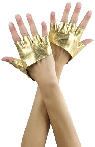 Short Yellow Gloves (ToBeInStyle Women's Short Faux Leather Fingerless Gloves - Gold)