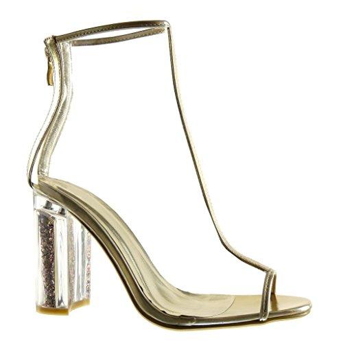Angkorly - Chaussure Mode Sandale Bottine ouverte sexy femme transparent pailettes Talon haut bloc 9.5 CM - Argent
