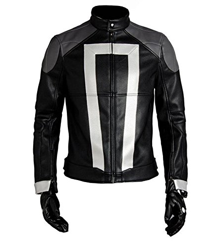 Men's Cool Leather Jacket Agents of Shield S.H.I.E.L.D Ghost Rider Jacket Cosplay Costume,Medium Black for $<!--$85.00-->