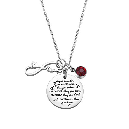 Fullrainbow You are Braver Than You Believe Stainless Steel July Birthstone Necklace Gift for Girls