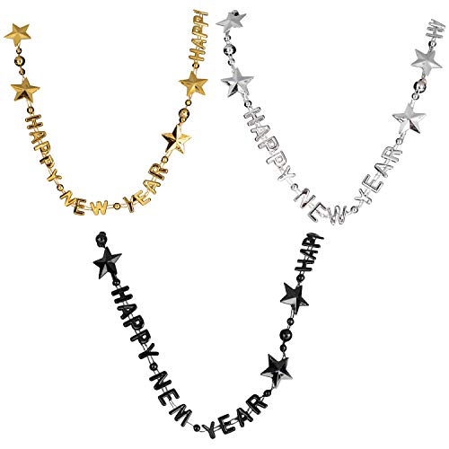 New Years Party Necklaces - 24-Pack Fun Happy New Year Plastic Necklace, Holiday Bling Costume Accessory, Photo Booth Prop Decoration Supplies, Gold, Silver, and Black, For Adults, 35 Inches Long