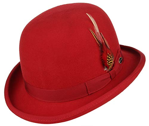 GEMVIE Men Vintage Feather Wool Felt Derby Hat Classic Roll Up Bowler Hat Red -