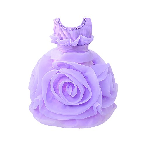 Wolfteeth Baby Girls Lace Dress Flower Occasion Party Dresses 4012130 Purple