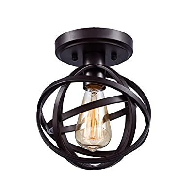 Dazhuan Antique 1-Light Metal Globe Chandelier with Cage Flush Mount Ceiling Lamp Light Fixture