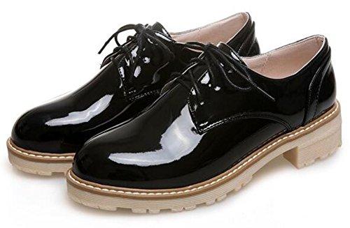 Burnished Top Mofri Toe Shoes Women's Heel Black Round Lace up Low Stylish Low Oxfords SrEaYnqEwx