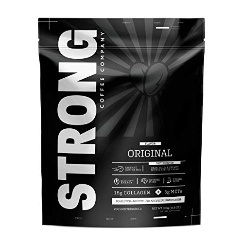STRONG COFFEE COMPANY | PREMIUM INSTANT COFFEE from the Whole Coffee Bean. Loaded with Antioxidants, Collagen, MCT, L-Theanine, L-Tryptophan, Hyaluronic Acid: No Crash (Unsweetened, 12 Servings) (Best Strong Coffee Brand)